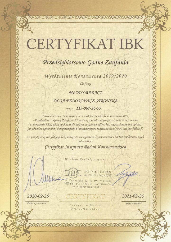 certyfikat przedsiębiorstwo godne zaufania 2019